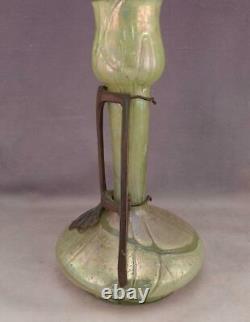 Antique c1900 LOETZ Art Nouveau Art Glass Vase & Austrian Bronze Ornament Collar