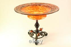 Antique c1920 Schneider French Art Glass & Wrought Iron Compote Bowl Footed Vase