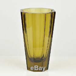 Antique signed Moser Karlovy Vary faceted Hoffmann art deco vase, dark yellow