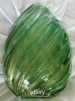Archimede Seguso Aventurine Ribbed Vase. Murano Art glass