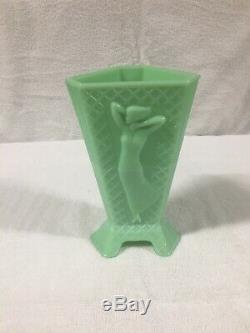 Art Deco 1930's Vintage McKee Jadite / Jadeite / Jade-ite Dressed Vase 3 Sided