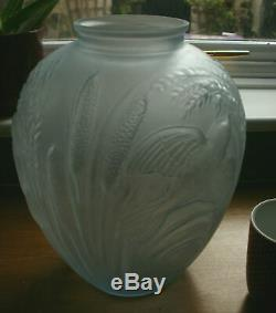 Art Deco Blue Glass Vase by Jobling Bird and Corn Frosted Glass Lalique Designed