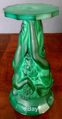 Art Deco Bohemia Malachite Glass C. Schevolgt 8.5 Grape Harvest Vase 1920-30's