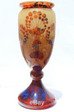 Art Deco Charles Schneider Le Verre Francais Ombelles Glass Vase Signed France