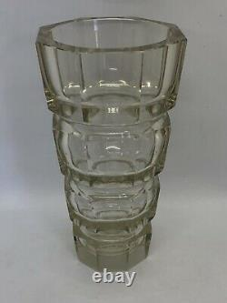 Art Deco Crystal Clear Cut Glass Vase by Moser Czech Bohemian Faceted