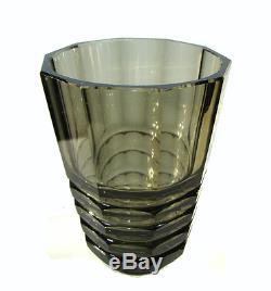 Art Deco Glas Vase Facetten Schliff Anthrazit Glass HAIDA Böhmen um 1930