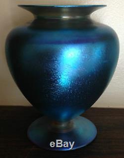 Art Deco Quezal Blue Aurene Vase