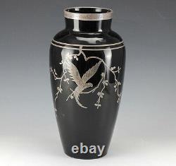 Art-Deco Rockwell Silver Overlay Black Amethyst Glass Vase Parrot on branch