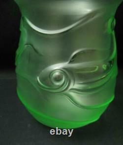 Art Deco Uranium / Vaseline Green Frosted Satin Glass Fish Vase Pressed