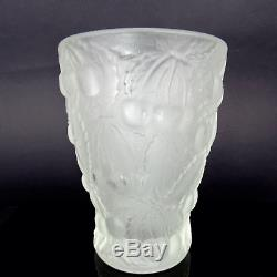 Art Deco Vase Joseph Inwald Frosted Barolac Czech Glass Cherries 1934