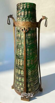 Art Nouveau Jugendstil Kralik Snowflake Iridescent Bohemian Art Glass Vase Base