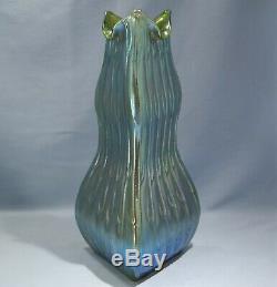 Art Nouveau Loetz Neptun Pattern Art Glass Oridescent Green Color Vase C. 1900's