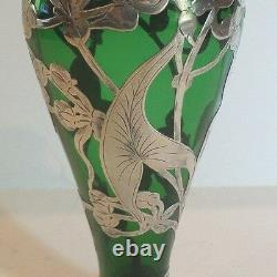 Art Nouveau Sterling Silver Overlay Green Glass 8 Vase, c. 1910