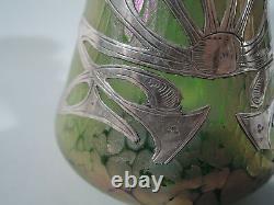 Art Nouveau Vase Antique American Iridescent Glass Vase Silver Overlay