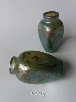Art Nouveu Loetz Green Iridescent PAIR Art Glass Vases Silver Overlay
