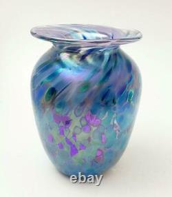 Australian Iridescent Glass Vase Signed Glen Pattrick 1995 Handmade Studio Art