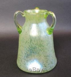 Authentic LOETZ PAPILLION Three-Handled Art Glass Vase c. 1910 Bohemian antique