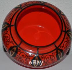 BEAUTIFUL ART NOUVEAU LOETZ TANGO GLASS VASE WITH ENAMEL PAINTING c1915