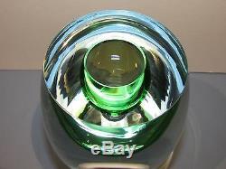 BERANEK Studio Art Glass Crystal Vase Green Hand Blown Czech Bohemia Bohemian