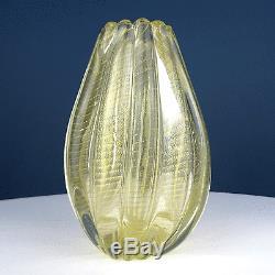 Barovier & Toso Cordonato d' Oro Vase gold leaf art glass Murano, Italy 1950s
