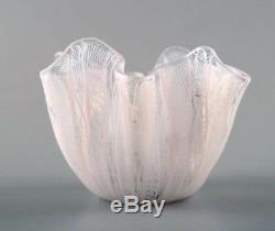 Bianconi Venini Murano Filigrana Stripes Italian Art Glass Fazzoletto Vase
