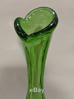 Blenko 23 Tall Green Myers Art Glass MCM Bottle Floor Vase Decanter Excellent