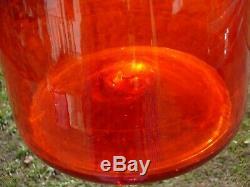 Blenko Architectural 34 MCM Tangerine Orange Art Glass Decanter or Vase