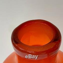 Blenko Architectural Decanter No. 588 Tangerine Art Glass (Amberina Rocket Vase)