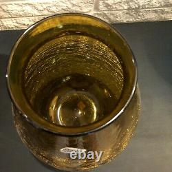 Blenko Art Glass 980L Amber Crackle Winslow Anderson Estate 11 1/2 Vase