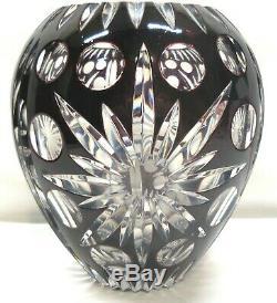 Bohemian/Czech Art Glass Cut Black to Clear Vase Beautiful Heavy