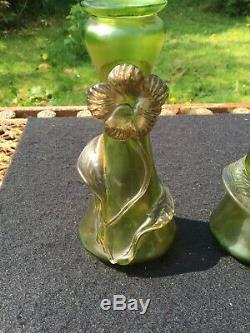 Bohemian Czech Loetz / Kralik Style Art Nouveau pair of art Glass Vase vases