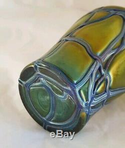 Bohemian Iridescent glass vase. Art nouveau period. By Pallme könig & Habel