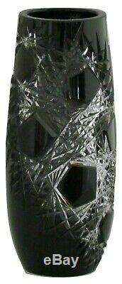 Caesar Crystal Bohemian Frost Vase Black Clear to Cut Crystal Czech Art Glass