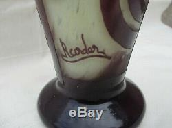 Charder Schneider Antique French Art Deco Cameo Vase Bandes Geometric Decor
