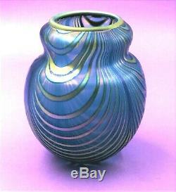 Charles Lotton Blue Iridescent Draped Art Glass Vase Signed / Dated 1980