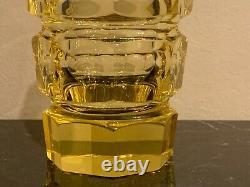 Circa Moser Art Deco Faceted Octagonal Glass Yellow Vase