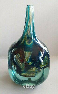 Contemporary Modernist Maltese Mdina Art Glass Fish Axe Head Vase signed C. 1977