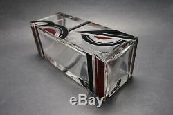 Czech Art Deco Modernism Crystal Glass Vase with Black and Red Enamel K Palda