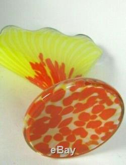 Czech FRANZ WELZ Scallop Fan Glass Vase Yellow Orange Spatter Art Deco Loetz era