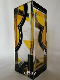 Czechoslovakian Art Deco Czech Karel Palda Glass Black / Yellow Geometric Vase