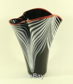 DAN BERGSMA Chihuly Studio ART GLASS Pulled Feather Black White Red Lip VASE