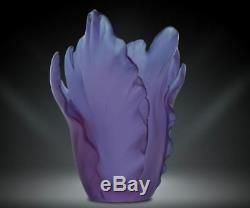 DAUM Floral Tulip Vase Ultraviolet Purple Art Glass Made in France 05213-2 New