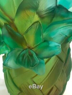 DAUM France Pate De Verre Tulip Art Glass Tressage Vase Numbered Edition
