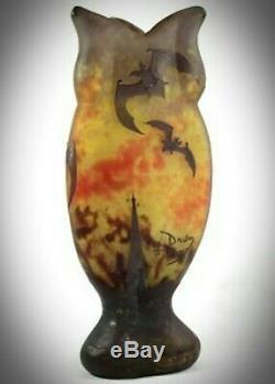 DAUM NANCY Art Nouveau acid etched'BATS'/'CHAUVES SOURIS' Cameo Glass vase