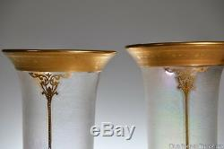 DORFLINGER No. 836 10 H PAIR of VASES withHONESDALE ATTR. ACID-ETCHED ART GLASS