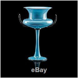 Dante Marioni Original Hand Blown Blue Glass Vessel Signed Chalice Vase Cup Art
