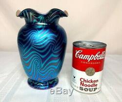 Durand Art Glass, Blue King Tut Vase, Quite Beautiful Excellent