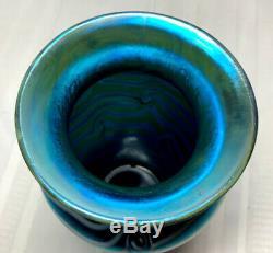 Durand Art Glass, Tall King Tut Coil Vase, White On Blue Iridescence, Nice
