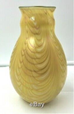 Early Charles Lotton Iridescent Art Glass Lincoln Drape Vase- Signed Dated 1977