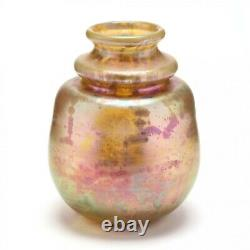 Early Robert Eickholt Large Bulbous Art Glass Gold Aurene Vase-signed / 1980